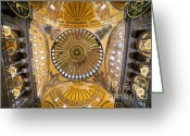 Byzantine Greeting Cards - Hagia Sophia Ceiling Greeting Card by Artur Bogacki