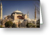 Minaret Greeting Cards - Hagia Sophia Greeting Card by Joan Carroll