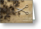Hair-style Greeting Cards - Hair and scissors on table Greeting Card by Matthias Hauser