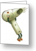 Storm Drawings Greeting Cards - Hairdryer Greeting Card by Kestutis Kasparavicius