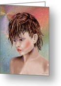 Hairdo Greeting Cards - Hairstyle Of Colors Greeting Card by Arline Wagner