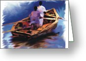 Fishermen Greeting Cards - Haitian Fishermen Greeting Card by Bob Salo