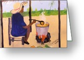 Soupe Jiromou Greeting Cards - Haitian Pumpkin Soup Greeting Card by Nicole Jean-Louis