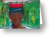 Nicole Jean-louis Greeting Cards - Haitian Woman   2 Greeting Card by Nicole Jean-Louis