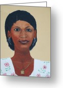 Nicole Jean-louis Greeting Cards - Haitian Woman Portrait Greeting Card by Nicole Jean-Louis