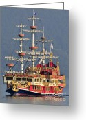 Pirate Ship Greeting Cards - Hakone Sightseeing Cruise ship sailing on Lake Ashi Hakone Japan Greeting Card by Andy Smy