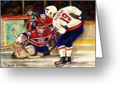 Hockey On The Streets Of Montreal Greeting Cards - Halak Blocks Backstrom In Stanley Cup Playoffs 2010 Greeting Card by Carole Spandau