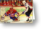 Hockey Street Scenes In Montreal Greeting Cards - Halak Makes Another Save Greeting Card by Carole Spandau