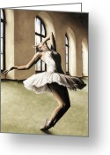 White Dress Greeting Cards - Halcyon Ballerina Greeting Card by Richard Young