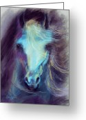 Horses Pastels Greeting Cards - Halcyon Greeting Card by Kim McElroy