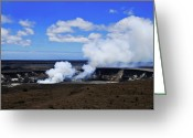 Oceania Greeting Cards - Halemaumau Crater at Kilauea Greeting Card by Christi Kraft