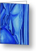 Chromatic Painting Greeting Cards - Half Blue Greeting Card by Richard Press