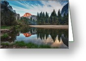 Reflection Greeting Cards - Half Dome And  Merced Greeting Card by Mimi Ditchie Photography