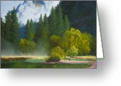Early Pastels Greeting Cards - Half Dome Mist Greeting Card by James Geddes