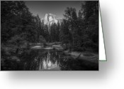 Reno Gregory Greeting Cards - Half Dome Monochrome Greeting Card by Reno Gregory
