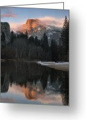 Merced County Greeting Cards - Half Dome Reflection Greeting Card by Don Smith