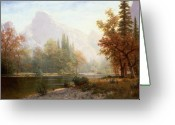 Woods Painting Greeting Cards - Half Dome Yosemite Greeting Card by Albert Bierstadt