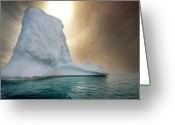 Antarctica Greeting Cards - Half Moon Over Island Greeting Card by Michael Leggero