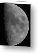 Lunar Mare Greeting Cards - Half-moon Greeting Card by Rolf Geissinger