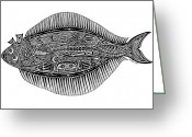 Tribal Drawings Greeting Cards - Halibut Greeting Card by Carol Lynne