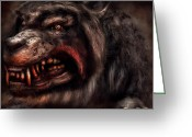 Nightmares Greeting Cards - Halloween -  Mad Dog Greeting Card by Mike Savad