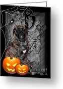 Holiday Greeting Cards - Halloween - Spooky Night - Mastiff Greeting Card by Renae Frankz