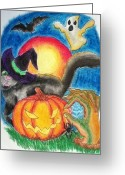 Bat Pastels Greeting Cards - Halloween 2012 Greeting Card by Erica Koczorowski