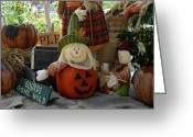 Straw Framed Prints Greeting Cards - Halloween 80 Greeting Card by Joyce StJames