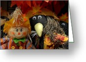 Straw Framed Prints Greeting Cards - Halloween 92 Greeting Card by Joyce StJames