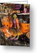 Straw Framed Prints Greeting Cards - Halloween 95 Greeting Card by Joyce StJames