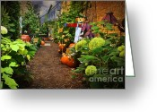 Scarecrow Greeting Cards - Halloween Alley Greeting Card by Mary Machare