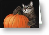 Prints Pastels Greeting Cards - Halloween Cat Greeting Card by Anastasiya Malakhova