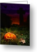 Graveyards Greeting Cards - Halloween Cemetery Greeting Card by Christopher Elwell and Amanda Haselock