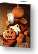 Trick Greeting Cards - Halloween cookies with a glass of milk Greeting Card by Sandra Cunningham