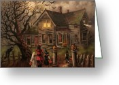 Trick Painting Greeting Cards - Halloween Dare Greeting Card by Tom Shropshire