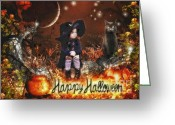 Spooky Moon Greeting Cards - Halloween Girl Greeting Card by Mo T