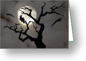 Spooky Moon Greeting Cards - Halloween Greeting Card by Jim Wright