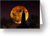 Ghosts Greeting Cards - Halloween Moon Greeting Card by Bill Cannon