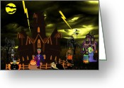 Coffin Greeting Cards - Halloween Night Greeting Card by Garry Staranchuk