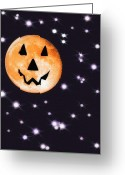 Starry Digital Art Greeting Cards - Halloween Night - Moon and Stars Greeting Card by Steve Ohlsen