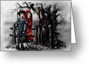 Witches Greeting Cards - Halloween Night Greeting Card by Rachel Christine Nowicki