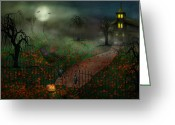 Trick Or Treat Greeting Cards - Halloween - One Hallows Eve Greeting Card by Mike Savad