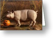 Trick Or Treat Greeting Cards - Halloween Pig Greeting Card by Daniel Eskridge