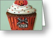 Folk Art Greeting Cards - Halloween Pumpkin Cupcake Greeting Card by Catherine Holman