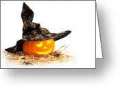 Wearing Greeting Cards - Halloween Pumpkin With Witches Hat Greeting Card by Christopher Elwell and Amanda Haselock