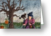 Felted Tapestries - Textiles Greeting Cards - Halloween Witch and Cat and Pumpkins Greeting Card by Nicole Besack