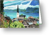 Teresa Dominici Greeting Cards - Hallstatt in Austria Greeting Card by Teresa Dominici