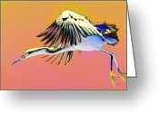Egret Digital Art Greeting Cards - Hallucination Greeting Card by Fraida Gutovich