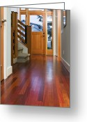 Wood Floors Greeting Cards - Hallway to Front Door Greeting Card by Andersen Ross