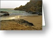Peering Greeting Cards - Halona Beach Cove Greeting Card by Michael Peychich